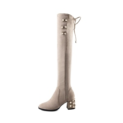 Shoespie Beads Lace-Up Block Heel Side Zipper Knee High Boot