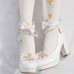 Shoespie Round Toe Bow Beads Platform Chunky Heel