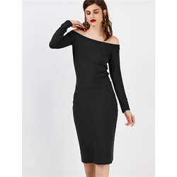 Shoespie Pocket Slash Neck Long Sleeve Bodycon Dress