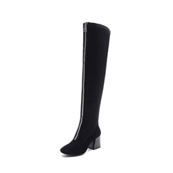 Shoespie Round Toe Front Zipper Block Heel Knee High Boot