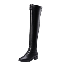 Shoespie Front Zipper Short Floss Square Toe Knee High Boot
