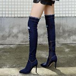 Shoespie Side Zipper Stiletto Heel Knee High Boot