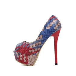 Shoespie Peep Toe Stiletto Heel Slip-On Color Block Platform Heel