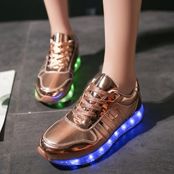 Shoespie Lace-Up Platform LED Light Sneakers
