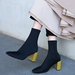 Shoespie Slip-On Color Block Block Heel Ankle Boot