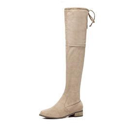 Shoespie Round Toe Block Heel Side ZipperLace-Up Knee High Boot
