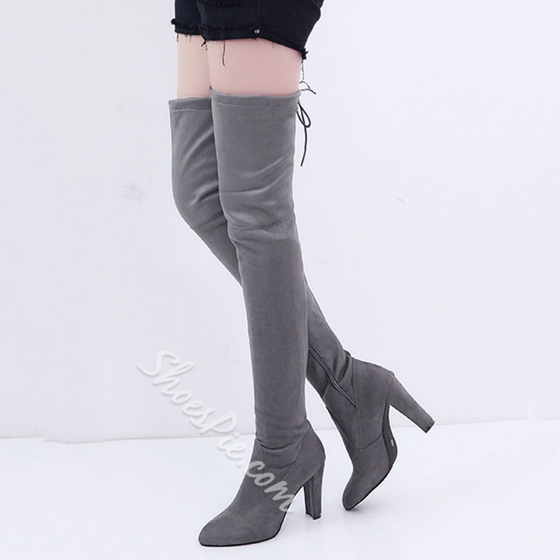 Shoespie Suede Side Zipper High Heel Thigh High Boots