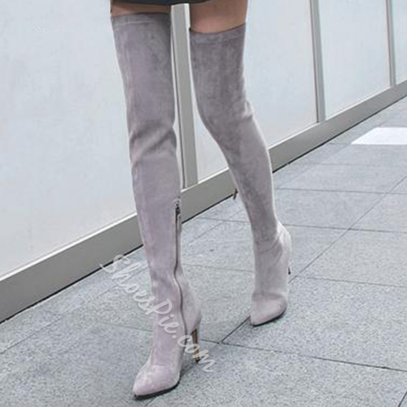 Shoespie Pointed Toe Side ZipperStiletto Heel Short Floss Knee High Boot