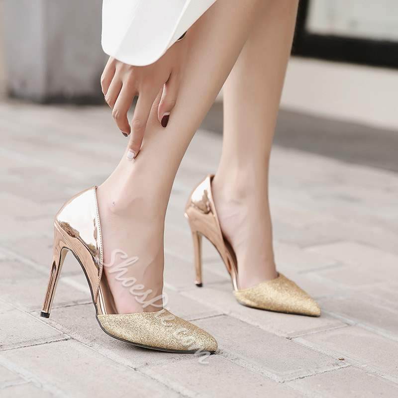 Shoespie Pointed Toe Banquet Slip-On Stiletto Heel