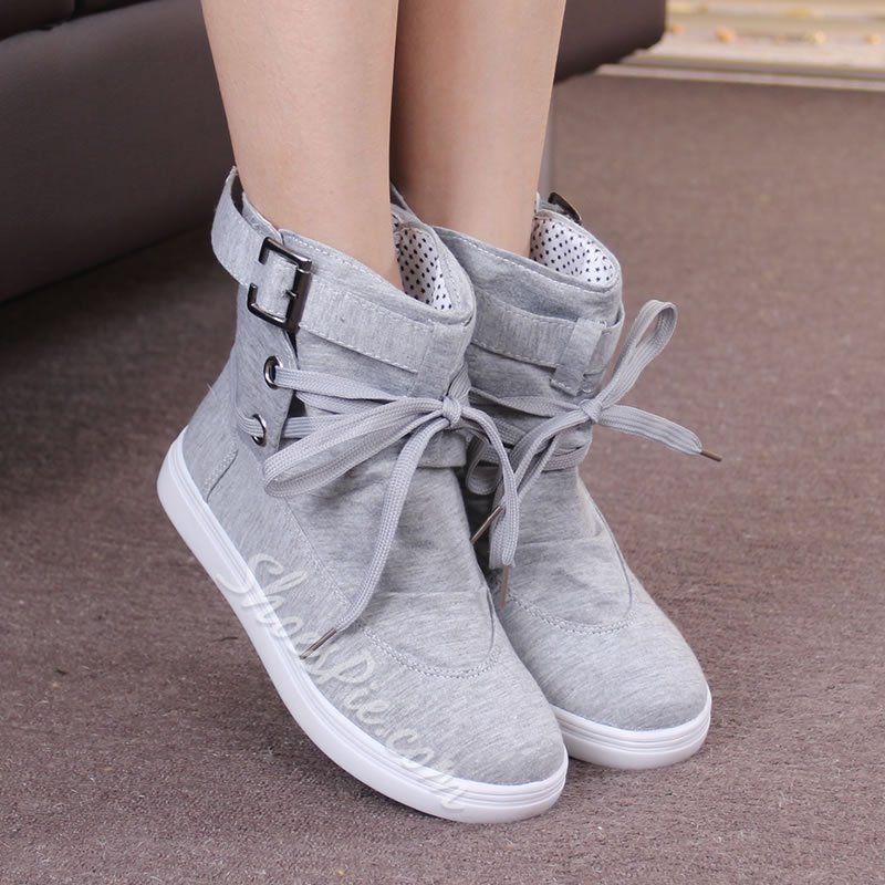 Shoespie Buckle High-Cut Upper Flat Ankle Boot