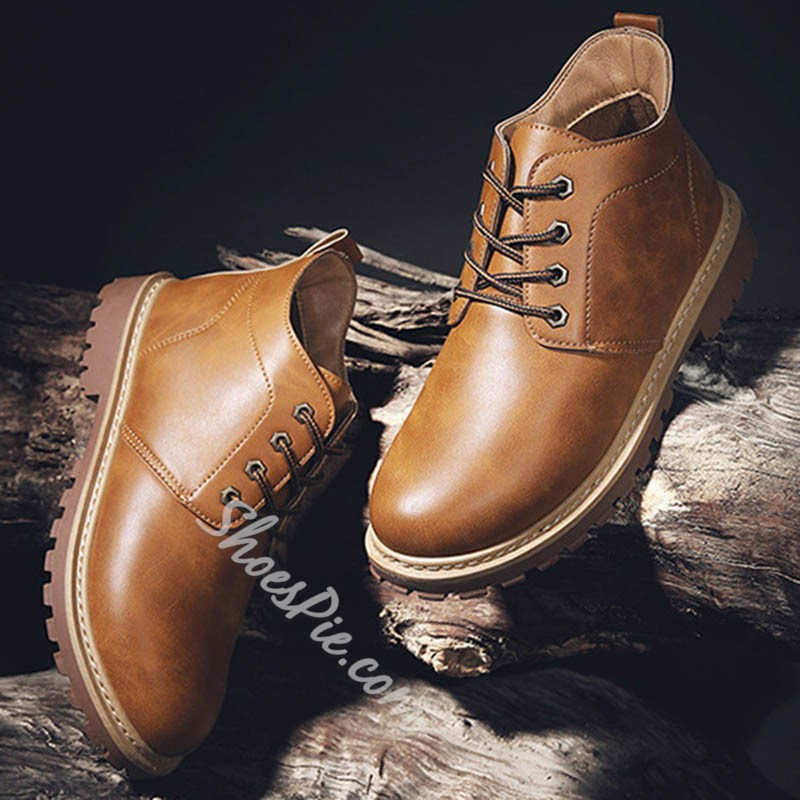 Shoespie Lace-Up Front Casual Ankle Martin Boots