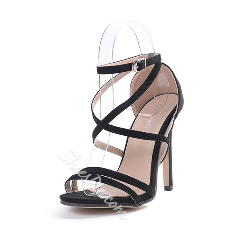 Shoespie Heel Covering Cross Strap Dress Sandal