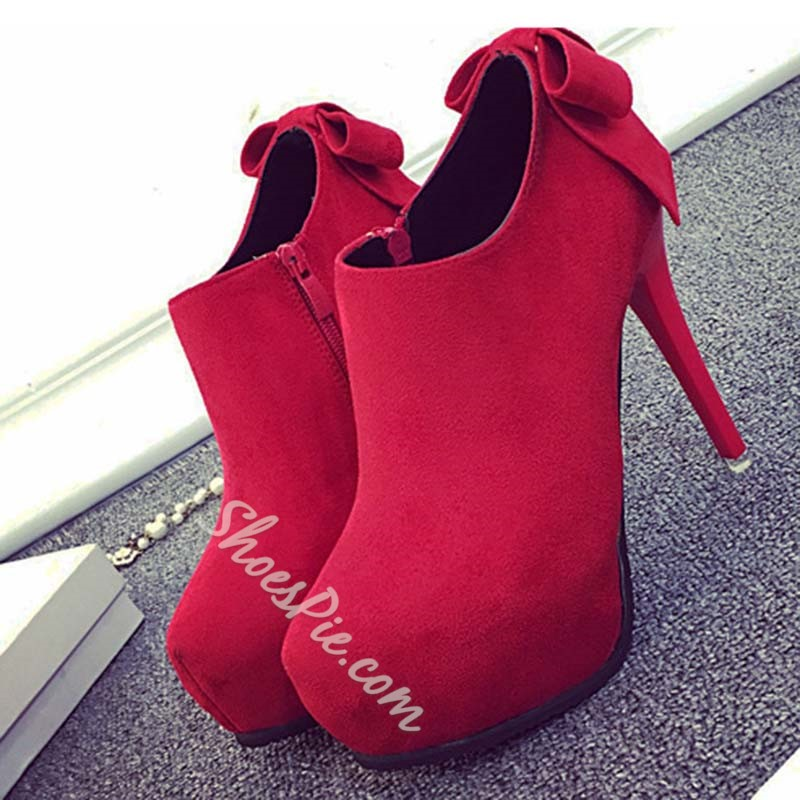 Shoespie BowSide Zipper Stiletto Heel Platform Heel Boot
