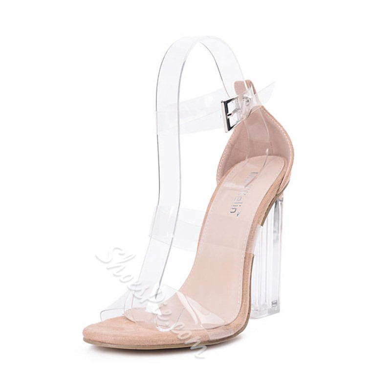 Shoespie Line-Style Buckle Chunky Heel Dress Sandal