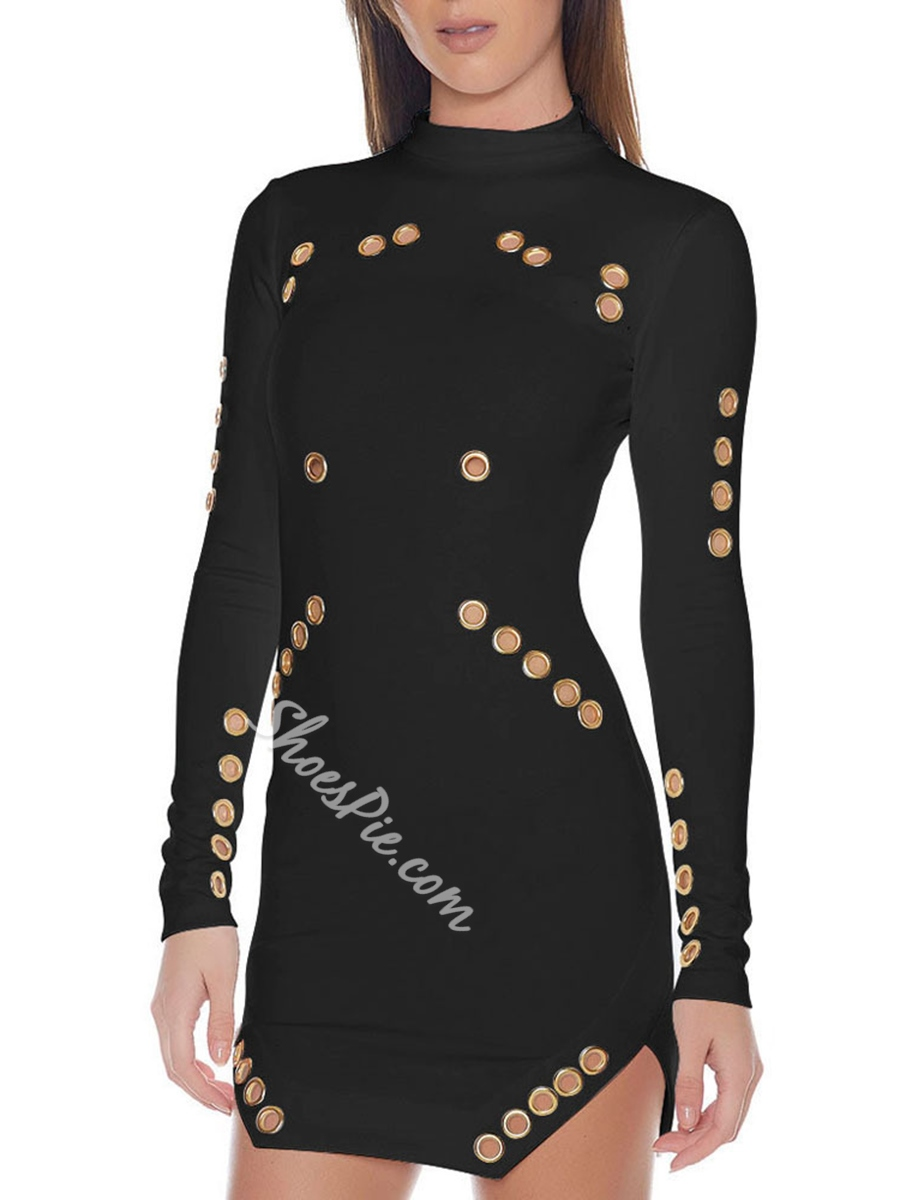 Shoespie Turtleneck Hollow Long Sleeve Bodycon Dress