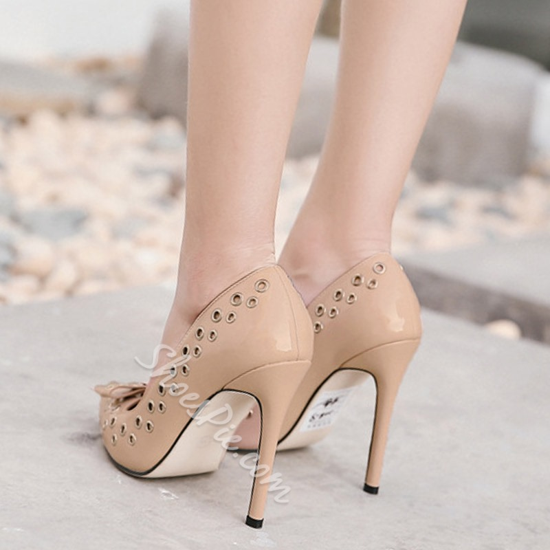 Shoespie Pointed Toe Slip-On Hollow Bow Stiletto Heel