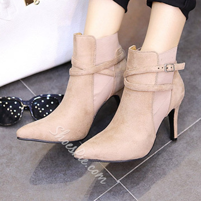Shoespie Short Floss Pointed Toe Spool Heel Ankle Boot