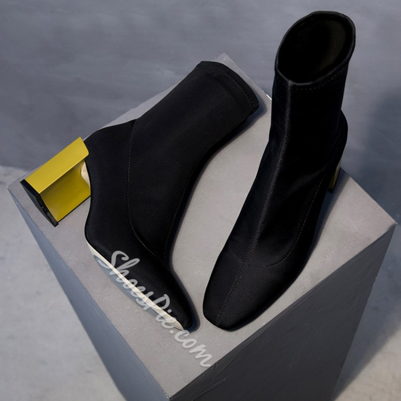 Shoespie Casual Slip-On Block Heel Ankle Boot