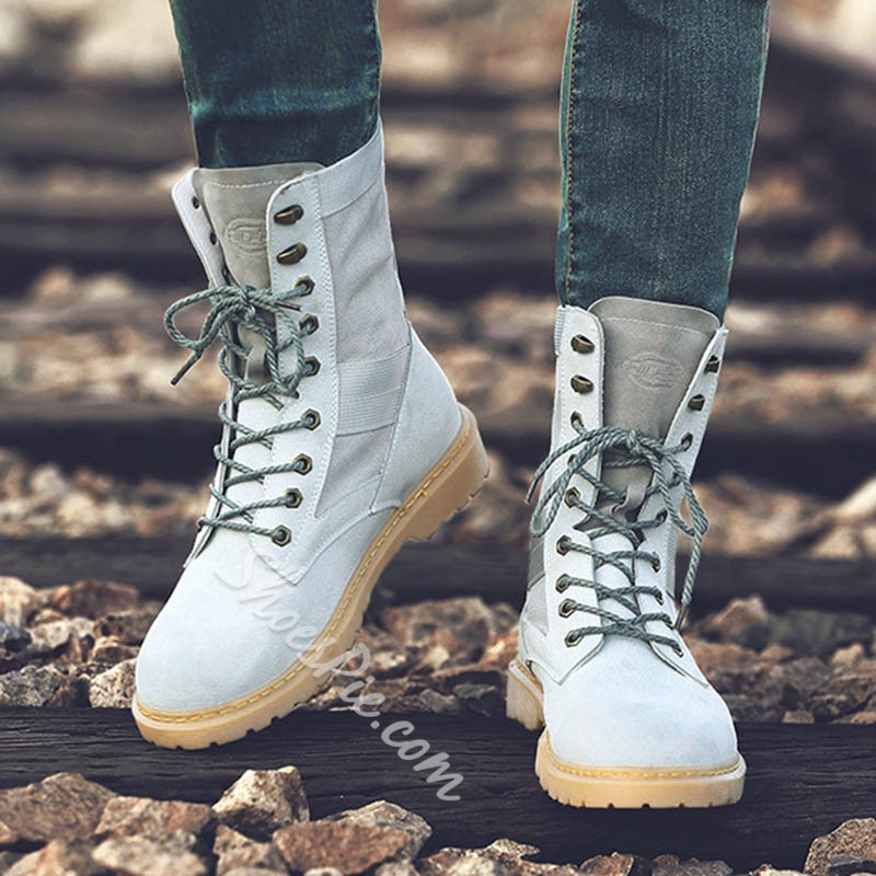 Shoespie Round Toe Lace-Up Patchwork Front Martin Boot