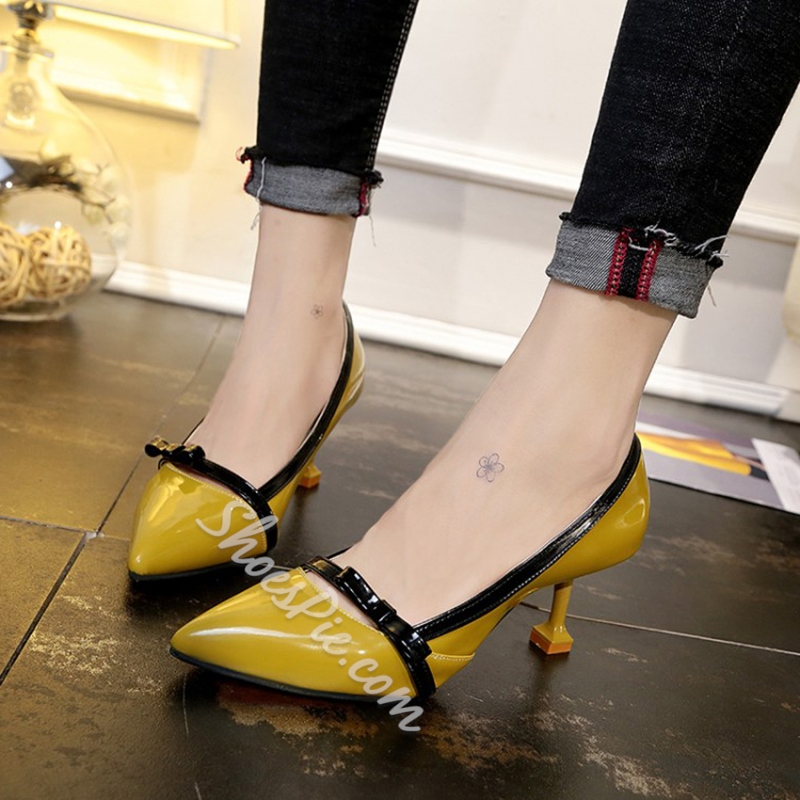 Shoespie Color Block Pointed Toe Slip-On Bow Stiletto Heel