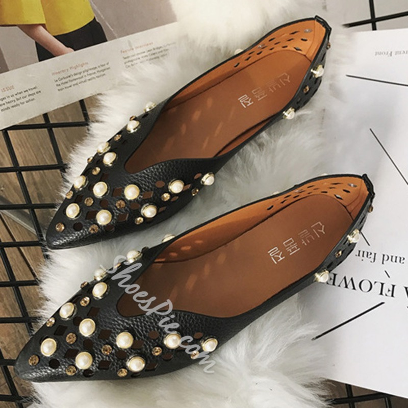 Shoespie Hollow Rhinestone Beads Pointed Toe Mules Shoes