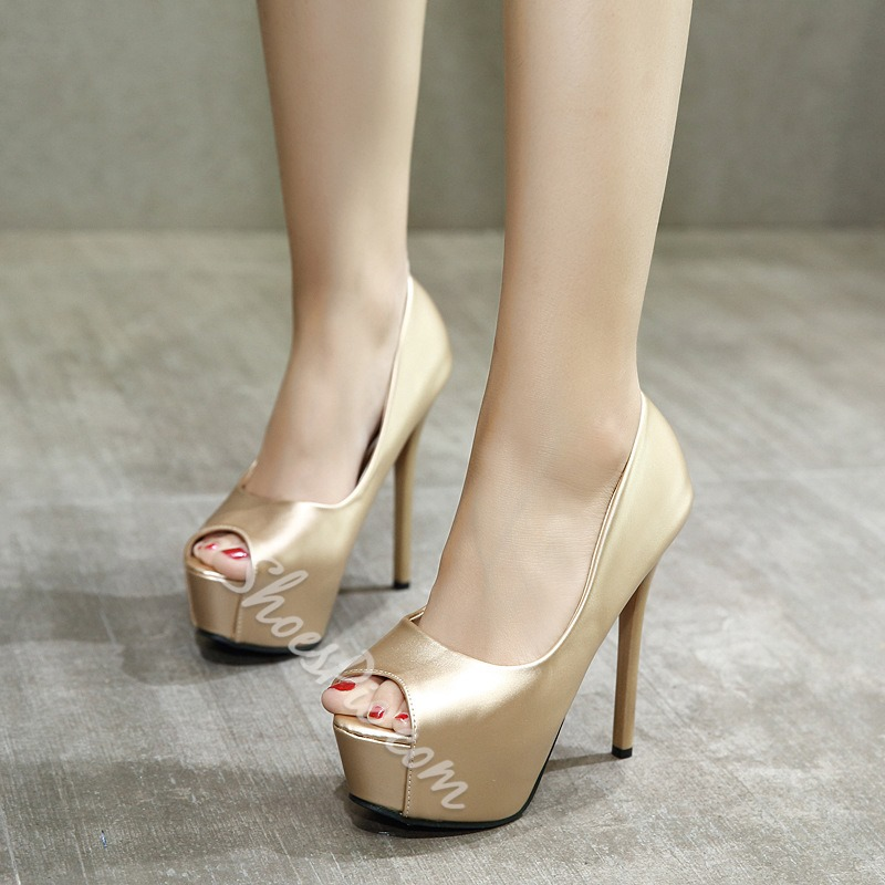 Shoespie Peep Toe BanquetSlip-On Stiletto Heel Platform Heel