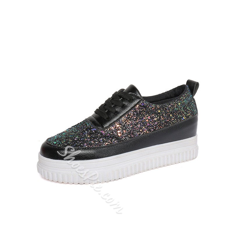 Shoespie Sequin Lace-Up Mesh Platform Sneaker