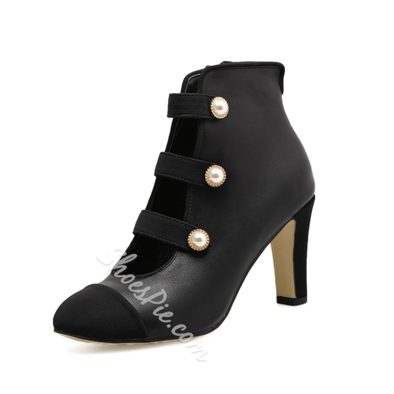 Shoespie Hollow Beads Color Block Side Zipper Chunky Heel Ankle Boot