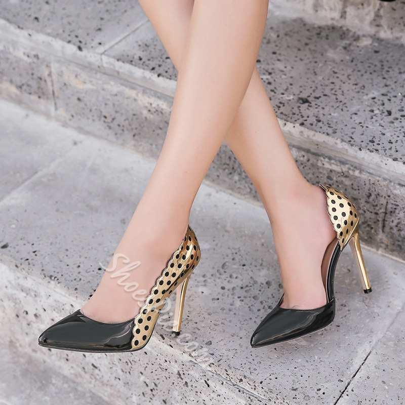 Shoespie Pointed Toe Slip-On Color Block Stiletto Heel