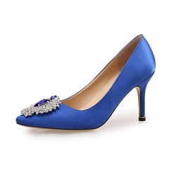 Shoespie Pointed Toe Rhinestone Slip-On Stiletto Heel
