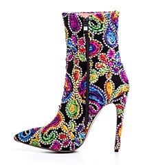 Shoespie Appliques Side Zipper Stiletto Heel Color BlockAnkle Boot