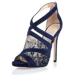 Shoespie Lace Zipper Floral Patchwork Stiletto Heel