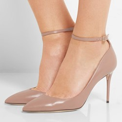 Sheoespie Pointed Toe Line-Style Buckle Banquet Stiletto Heel
