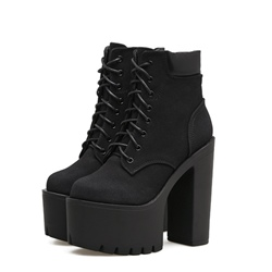 Shoespie Lace-Up Front Platform Chunky Heel Ankle Boot