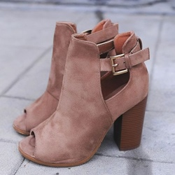 Shoespie Chunky Heel Peep Toe Ankle Boot