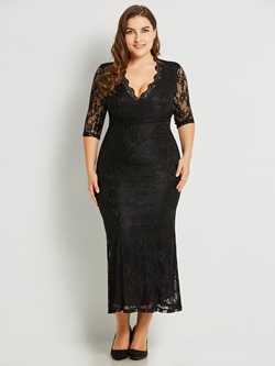 Shoespie Plusee Polyester Women's Lace Dress