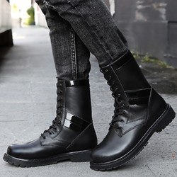Shoespie Mid-Calf Lace-Up Martin Boots