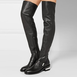 Shoespie Beads Sequin Block Heel Knee High Boots