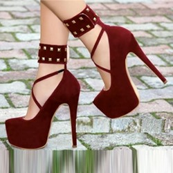 Shoespie Strappy Stiletto Heel Rivet Platform Heel