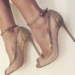 Shoespie Line-Style Buckle Banquet Diamond Rivet Peep-toe Stiletto Heel