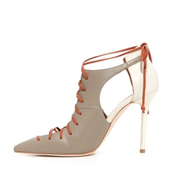 Shoespie Lace-Up Pointed Toe Color Block Stiletto Heel
