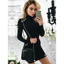 Above Knee Turtleneck Hollow Pullover Women's Bodycon Dress