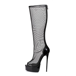 ShoespiePeep Toe Mesh Platform Stiletto Heel Back Zip Knee High Boot