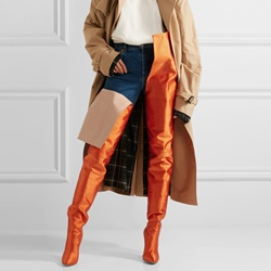 Shoespie Orange Stiletto Heel Stylish Thigh High Boots