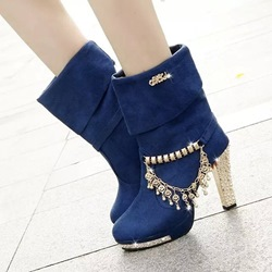 Shoespie Chain Sequin Platform Ankle Boots