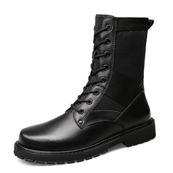 Shoespie Casual Round Toe Patchwork Lace-Up Front Martin Boot