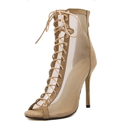 Shoespie Peep Toe Cross Strap Back Zip Stiletto Heel Ankle Boot