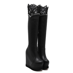 Shoespie Hidden Elevator Heel LaceRhinestone Platform Knee High Boot