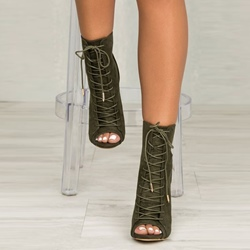 Shoespie Peep Toe Cross Strap Stiletto Heel Ankle Boots