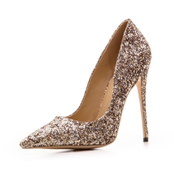 Shoespie Glitter Pointed Toe Slip-On Sequin Stiletto Heel